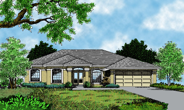 One story home design with open floor plan for Parker house designs