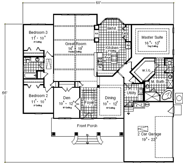 One-story home design with Great room