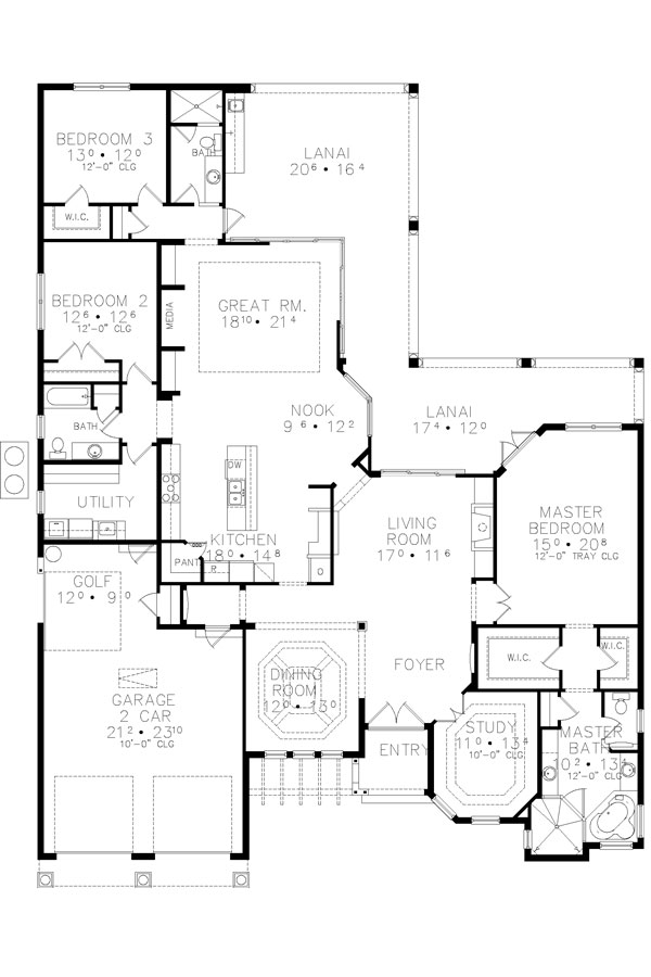 One Story Home Design With Breezy Lanai