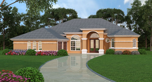 One story home design with four bedrooms for 3 bedroom mediterranean house plans
