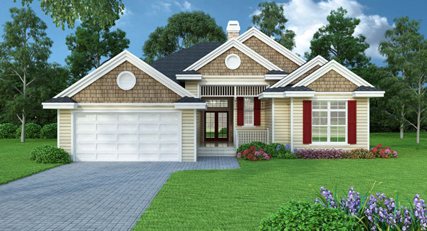 Small House Plans One Story: One-story Home With Spacious Great Room