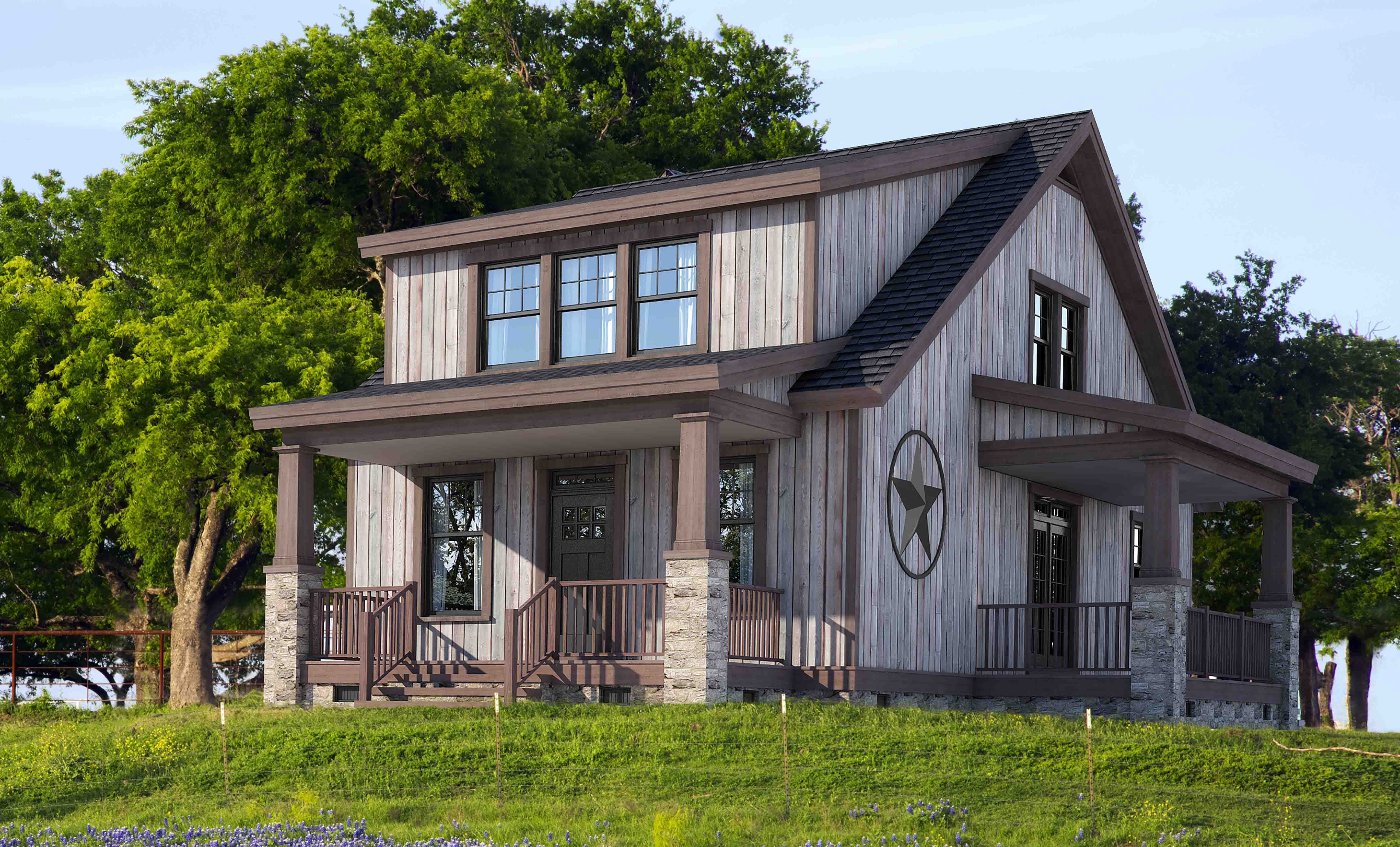 Two Story Rustic Lake Style Cabin House Plan 20