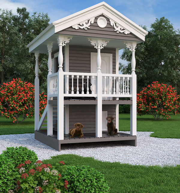 Two story playhouse and doghouse design for Custom playhouse plans