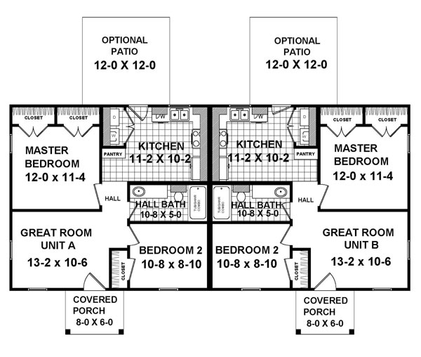 A full featured duplex plan that is both simple and cost for Cost effective building plans