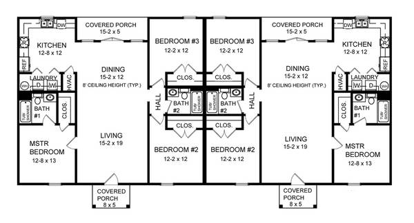 Three bedroom duplex 7085 3 bedrooms and 2 5 baths the One story duplex house plans