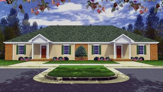 image of Three Bedroom Duplex House Plan