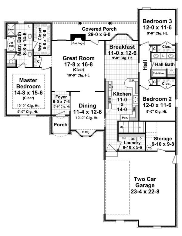 The Greystone 7027 3 Bedrooms and 2 Baths The House Designers