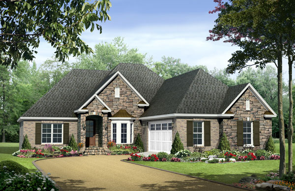 European country style one story plans the house designers for Single story country house plans
