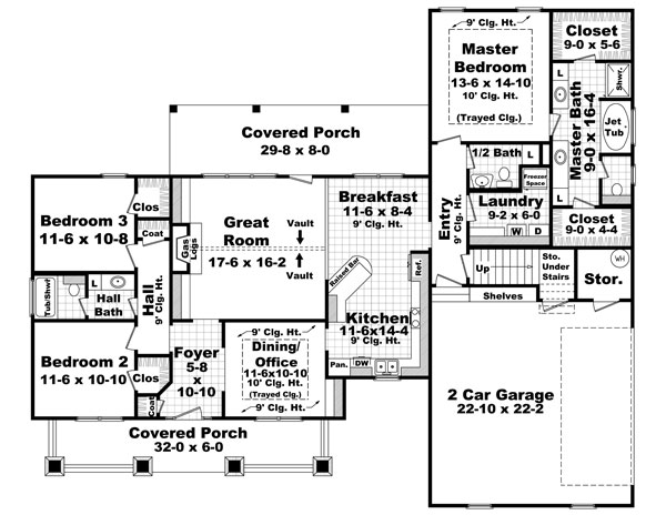 1st Level Floorplan image of The Sherwood Cove House Plan