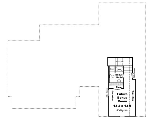 Bonus Room Floorplan image of The Sherwood Cove House Plan