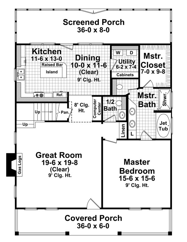 1st Level Floorplan image of The Mill Creek House Plan