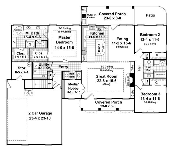 The forrest wood 6569 3 bedrooms and 2 baths the house House designs 2000 square feet