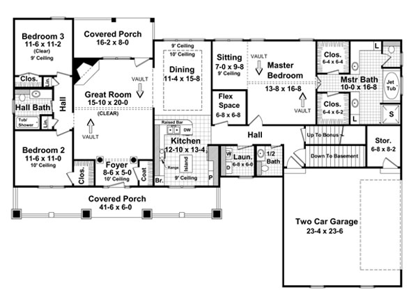 The stonebridge 5764 3 bedrooms and 2 baths the house for 4 bedroom ranch house plans with walkout basement