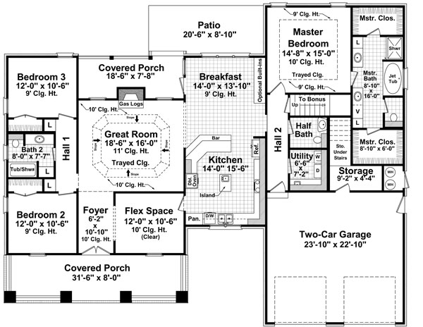 The morgan landing 7142 3 bedrooms and 2 baths the for 5 bedroom bungalow house plans