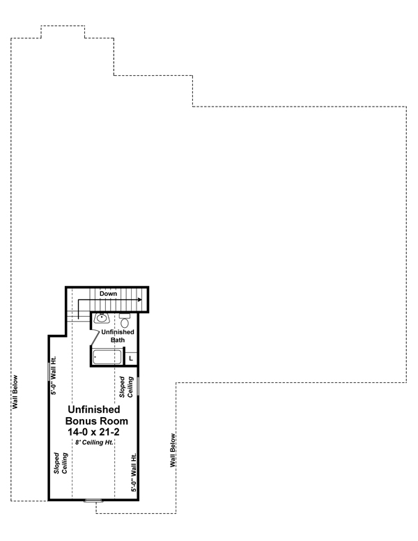 Bonus Room Floorplan image of The Shelton Road House Plan