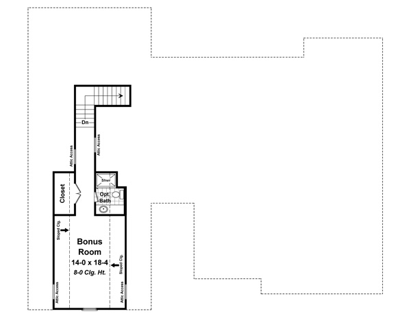 Bonus Room Floorplan image of The Madeline Lane House Plan