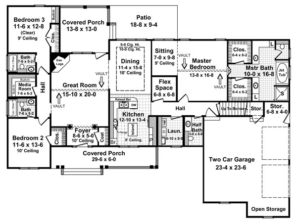 The fairhope 5757 3 bedrooms and 3 baths the house for Floor plans for 2200 sq ft homes