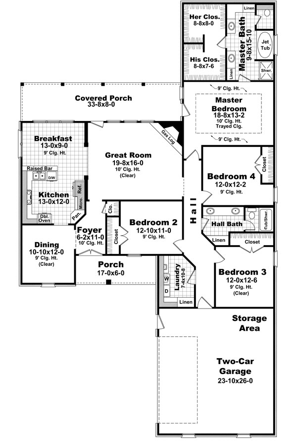 The millbrook 8560 4 bedrooms and 2 5 baths the house for 2300 sq ft house plans