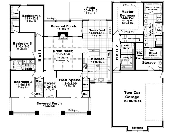 The morgan ridge 6388 4 bedrooms and 2 baths the house 4 bedroom 3 car garage floor plans