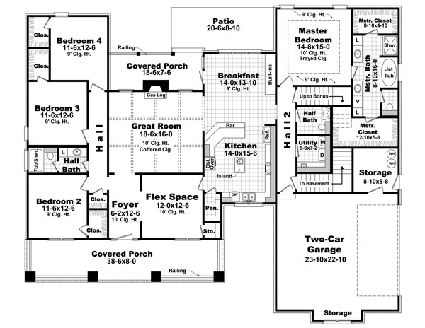 1st Level Floorplan image of The Morgan Lane House Plan