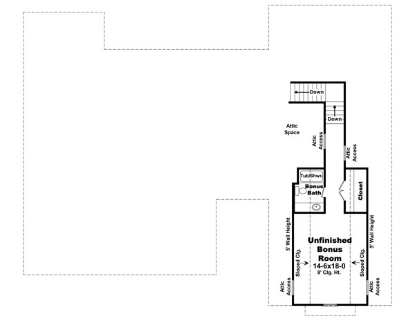 Bonus Room Floorplan image of The Morgan Lane House Plan