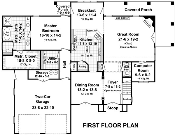 1st Level Floorplan image of The Andover Lane House Plan