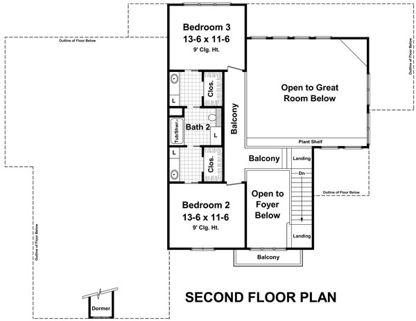 2nd Level Floorplan image of The Andover Lane House Plan
