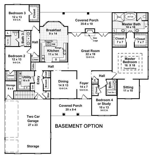 4 Bedroom House Floor Plans With Basement