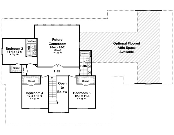 The hudson park 1600 4 bedrooms and 3 baths the house for Second story floor plan