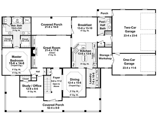 The Stonewood Lane   Bedrooms and Baths   The House Designers st Level Floorplan
