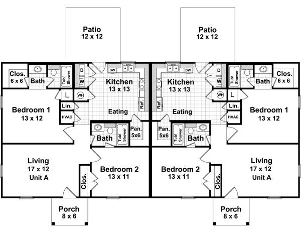 The duplex 7080 2 bedrooms and 2 5 baths the house for 2 bedroom 1 bath duplex floor plans