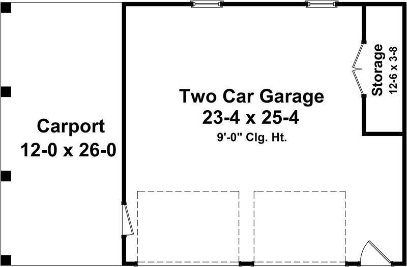 One Story Traditional 2 Car Garage Plan With Carport