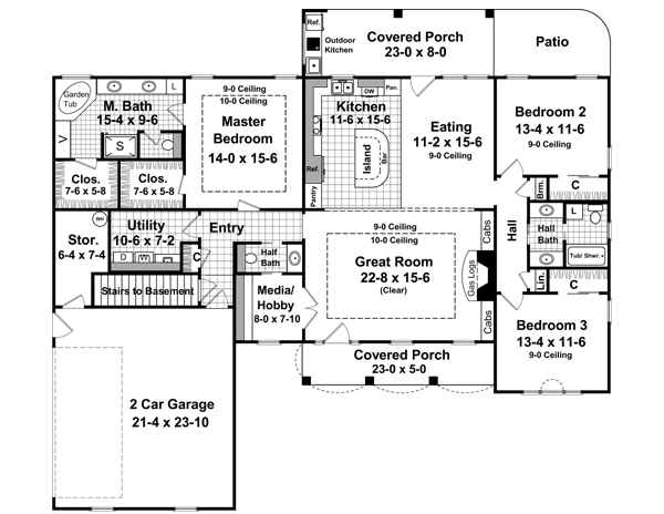 Three-bedroom Home Plan With Two Porches