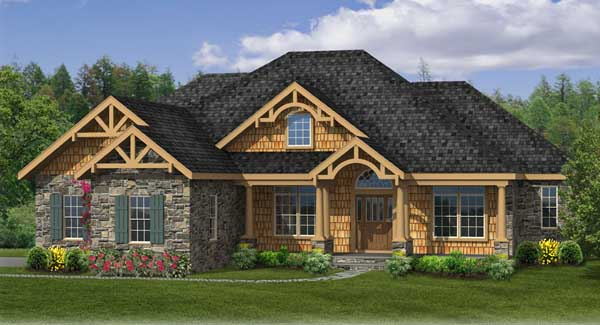 Sturbridge ii c 4422 4 bedrooms and 2 baths the house for Craftsman house plans one story with basement