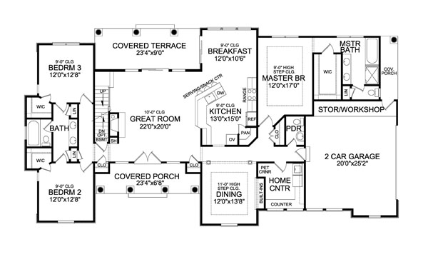 Open Craftsman Floor Plan, House Plans With Jack And Jill Bathrooms