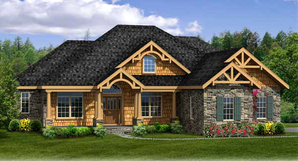Craftsman house plan with walk out basement for Split level house plans with walkout basement