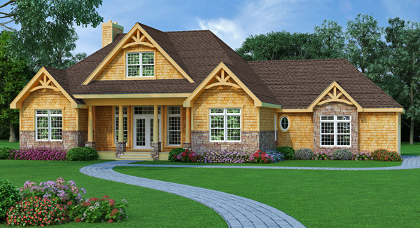 Holly hill 9233 3 bedrooms and 2 baths the house designers for Craftsman house plans one story with basement