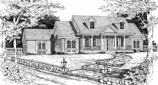 Front Rendering #2 image of DELAFIELD House Plan