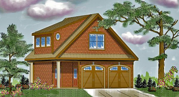 Two story garage 6332 the house designers for 2 story garage plans with loft