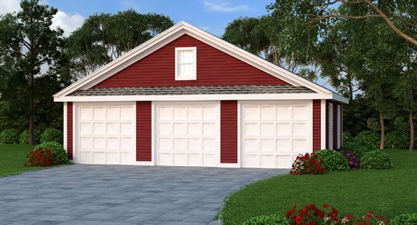 Three car garage plan with windows for Three car garage house plans