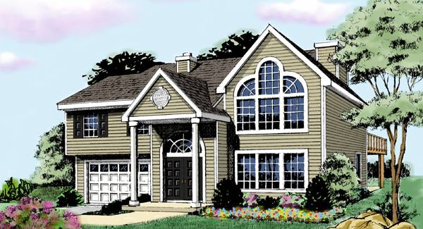 Split level house plans home designs the house designers for Split level addition plans