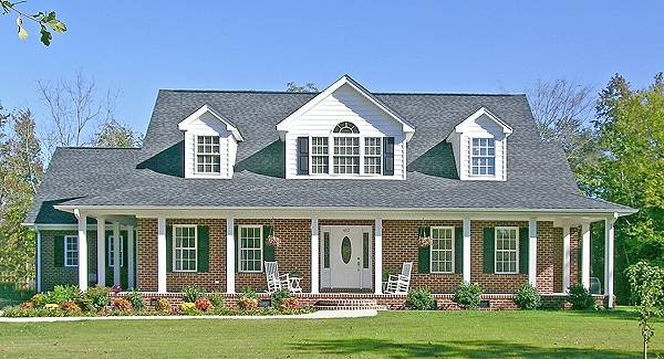 Sanford 1583 5 bedrooms and 3 baths the house designers for Brick home plans with wrap around porch