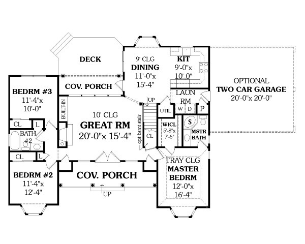LEWISBURG RANCH   Bedrooms and   Baths   The House DesignersFirst Floor Plan