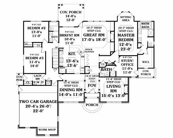 First Floor Plan image of BAINBRIDGE House Plan