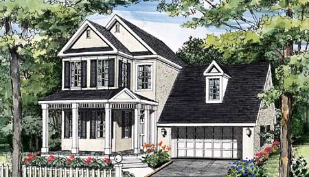 Rockford narrow lot 3849 3 bedrooms and 2 baths the - Traditional neighborhood design house plans ...