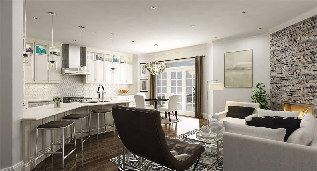 House Plan 7575: Living Room/Kitchen