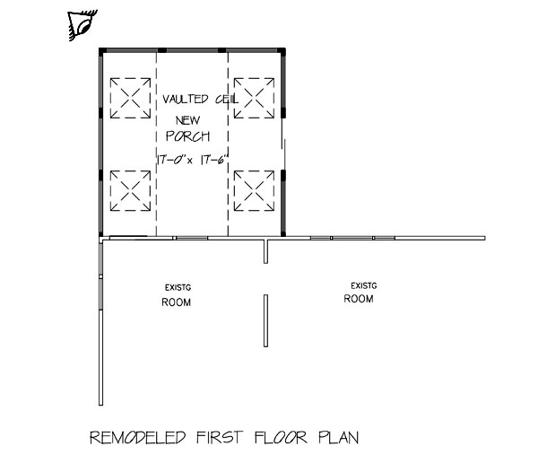 Remodeled First Floor Plan image of Great New Sun Porch (P0001) House Plan