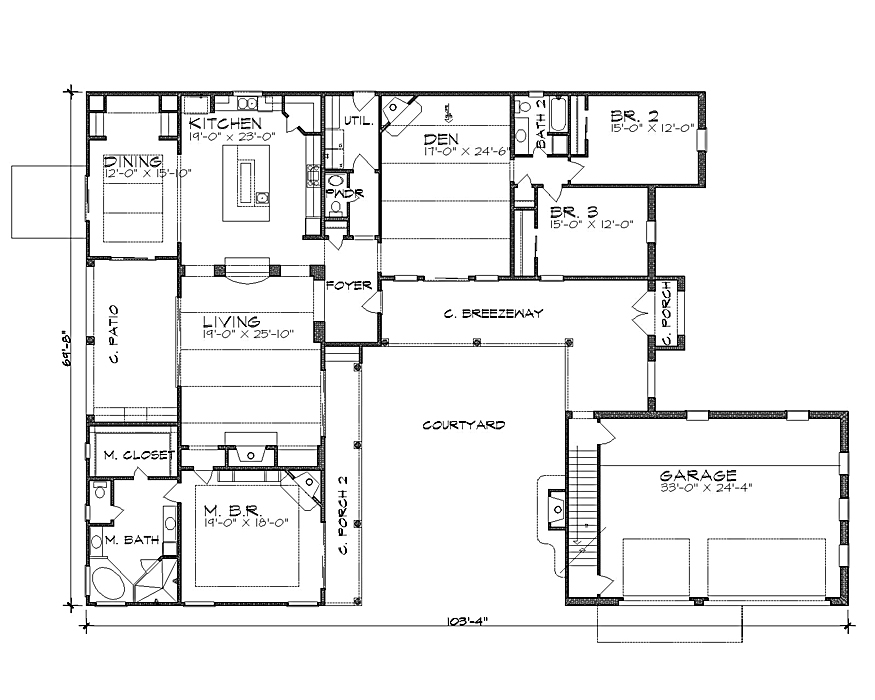 Small hacienda style home plans houses plans designs for Hacienda floor plans