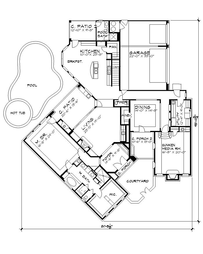 Cul de sac floor plans vista montagna 4442 4 bedrooms for Cul de sac house plans