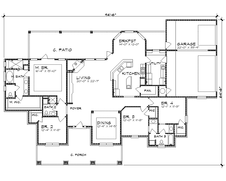 The Wyoming 4237 - 4 Bedrooms and 3.5 Baths | The House Designers